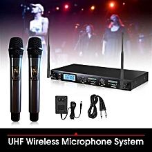 Pro Wireless 2-Channal UHF Dual Handheld Microphone Cordless Mic LCD Display US PLUG