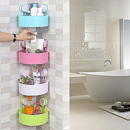 Set Of 4 Elegant Bathroom Corner Storage Rack Organizer Shower Shelf Suction Cup