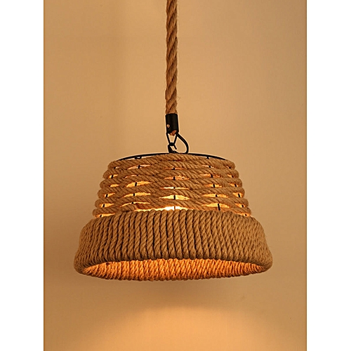 YWXLight Vintage Hemp Rope Pendant Light Retro E27 Industrial Retro Lamp  Base Loft Iron Lamp Bedroom Dining Room Cafe Bar Hanging Lamp (Warm White)