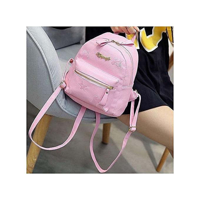 bluerdream-Women Girl Rucksack Shoulder Bookbags School Bag Satchel Travel  Leather Backpack- Pink a288afabd2