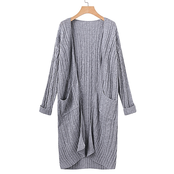 c0cec47869 Casual Women Solid Color Long Sleeve Open Front Knit Cardigan with Pocket