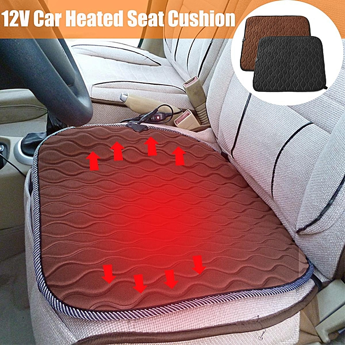 Black Brown 12V Universal Car Heated Seat Cushion Electric Front Pad