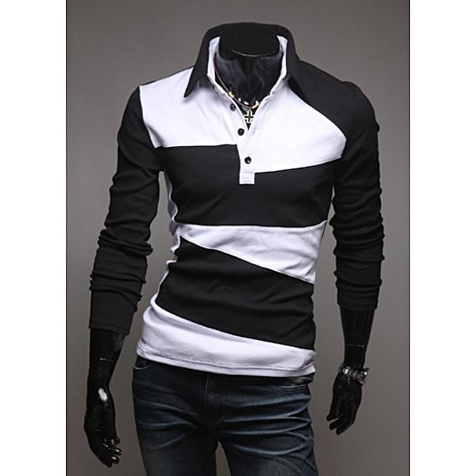 321dc897067 Men s Long Sleeve Polo Shirt Striped Autumn Winter Turn Down Collar-black