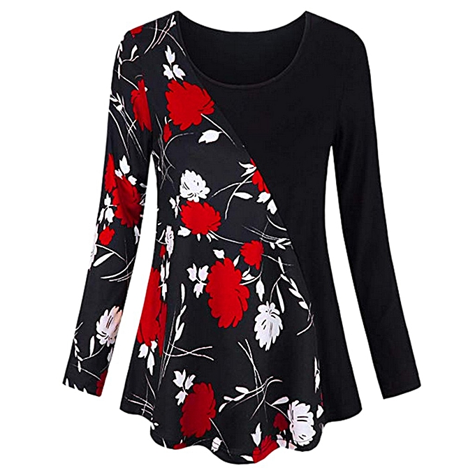 9d6c0772bbc Fashion Women Long Sleeve Floral Patchwork Tunic Tops Splice Knitted ...
