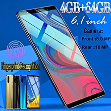 6.1 Inch Android 8.1 Mobile Phone 4GB +64GB Fingerprint Face Recognition Smartphone Black