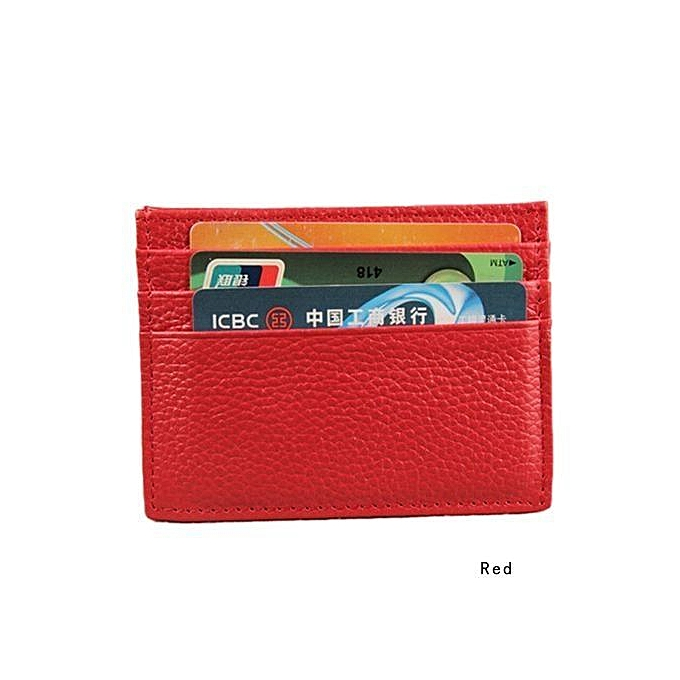 8eeaeb886b66 Men s Women s Small Real Leather Id Credit Card Wallets Holder Slim Pocket  Case