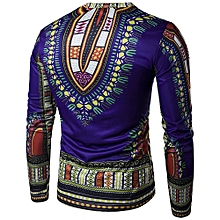 Mens Traditional Thailand Style African Print Long Sleeve T-Shirt Blouse Tops