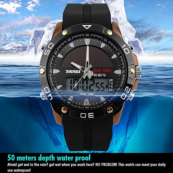 Men's Watches 50m Waterproof Solar Watches Outdoor Military Men Sports Watches Solar Power Digital Quartz Watch Dual Time Men Casual Watch Buy One Give One Quartz Watches