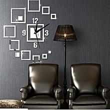 Creative Square Wall Clock Sticker-Silver