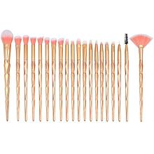 20 in 1 Diamond Handle Eye Brush Multi-functional Makeup Brush, Gold Handle and Pink Brush