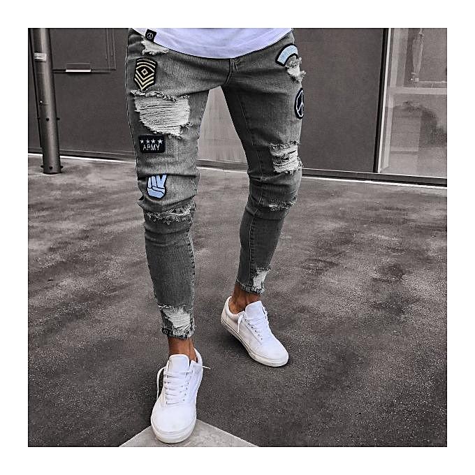 fef38251f01 New style Men Feet Badge Jeans Men s Trends Knee Hole Zipper Feet Hole Denim  Trousers jeans ...