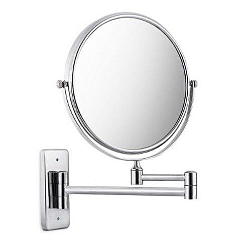 Chrome Finish 8 Inch Double Sides Swivel Wall Mounted Makeup Mirror Square Base Silver