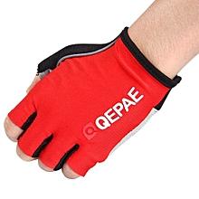 Half Finger Cycling Gel Gloves - Red