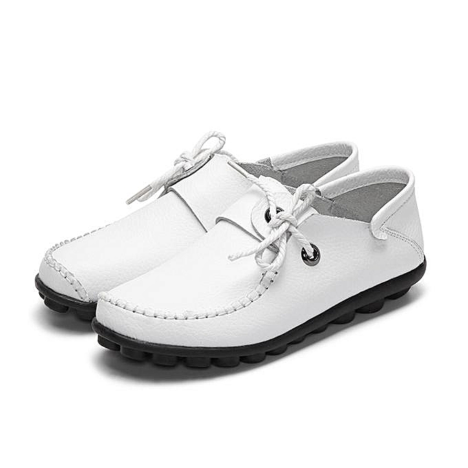 39caf181c9 Fashion US Size 5-12 Women Lace Up Shoes Soft Comfortable Leather Flats  Boat Shoes