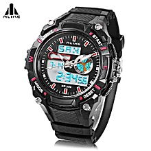AK14100 Male Dual Movt Sport Watch Chronograph 5ATM Outdoor Wristwatch-Red-Red