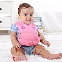 Baby Kids Infant Animal Toddler silica gel Cartoon Saliva Towel Lunch Bibs-Pink