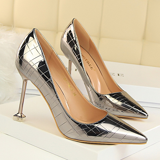 d0307a505d Women Retro Shoes Stiletto High Heel Shallow Mouth Pointed Stone Pattern  Sexy Nightclub Shoes High Heels