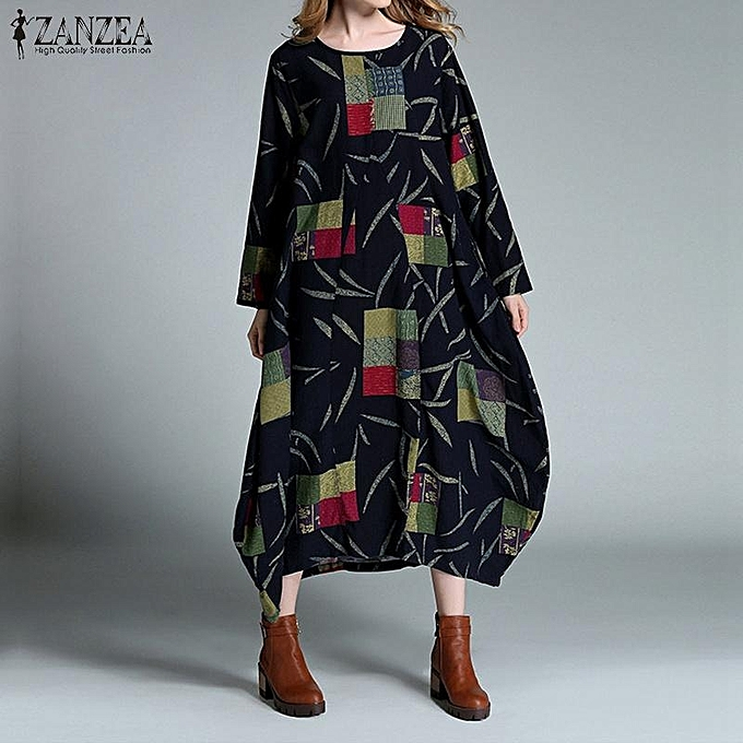 483af60c2fa ... Cotton Kaftan Vestidos Plus Size (Navy) · NEW ZANZEA Linen Dress Autumn  Winter Women Maxi Long Dress Loose Baggy O Neck Long Sleeve