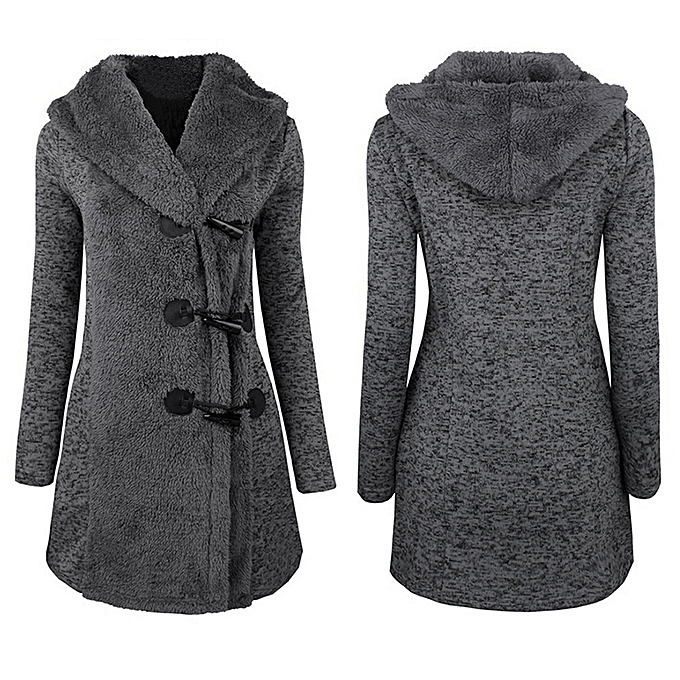 7fdbee49b7a Hiamok Women Fashion Winter Plus Thick Warm Buttons Coat Overcoat Parka  Hoodie Outwear