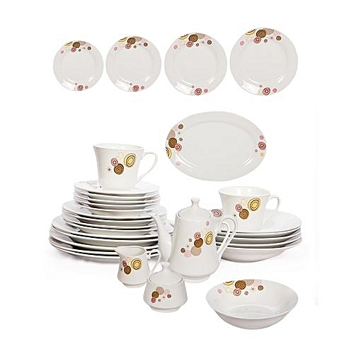 Generic 47 Pcs Dinner Set Plates Includes Cups Kettle Jar Sugar Bowl Serving Dish