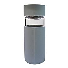 Glass Water Bottle - 370ml - Grey