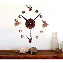 Fashion Retro 3D DIY Wall Clock Pastoral Deer Home Decoration Art Clock CF-Coffee