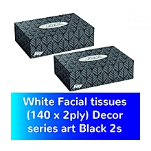White Facial tissues (140 x 2ply) Decor series art Black 2s
