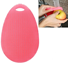 Water Drop Style Antibacterial Washing Brush Kitchen Dish Bowl Pot Cleaning Silicone Scouring Pad(Pink)