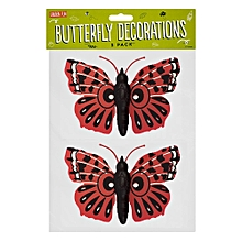 Garden Wall Decorations - Butterfly - 2 Pack (Red)