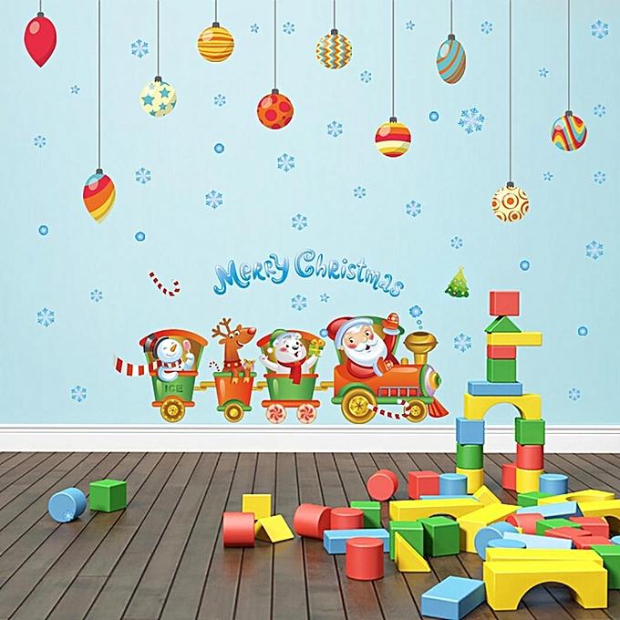 Buy Sunshine Cartoon Train Christmas Pattern Wall Stickers Home Wall ...
