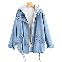 Button Up Denim Jacket with Hooded Vest - LIGHT BLUE