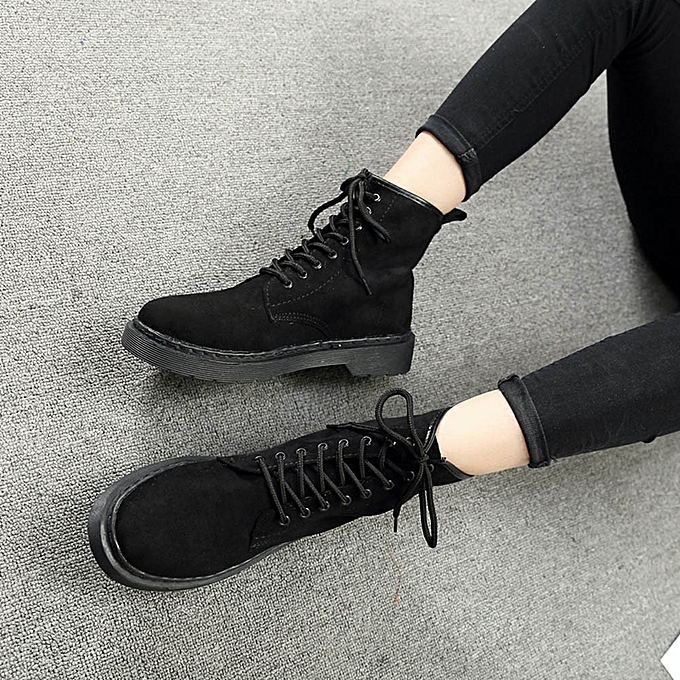 guoaivo Women Ladies Soft Flat Ankle Single Shoes Female Suede Leather  Lace-Up Boots - 72a2ae9a8da5