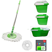Twin Bucket Spin Mop Set - 360 Degree - Green