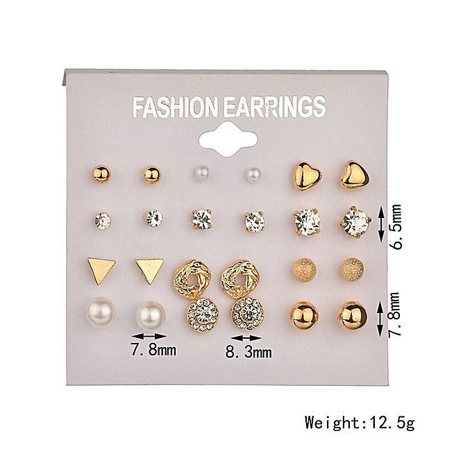 Fashion Earrings Ear Ring Set Combination Of 12 Sets Of Heart-shaped Earrings