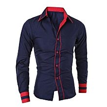 bluerdream-Men Shirt Fashion Solid Color Male Casual Long Sleeve Business Shirt NY/L- Navy