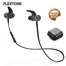 PLEXTONE BX343 Bluetooth Headset Daul Battery 8 Hour Music Play Wireless Sport Running Headphones Handsfree Earbuds Magnetic Sport Earphones with Microphone for Moblie Phone(Black Blue Yellow)