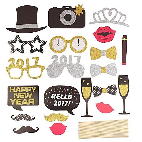Buy Generic 21pcs Diy Happy New Year Photo Booth Props Mask Mustache