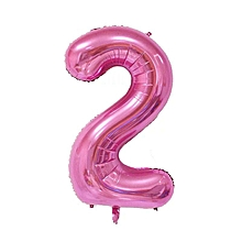 32 inch Pink Number 2  Foil Air Balloon for Birthday Anniversary Party