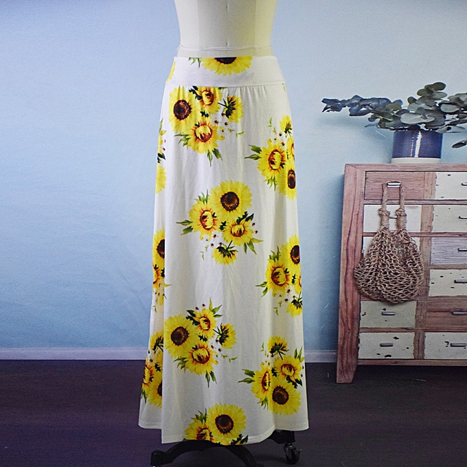 f8977b3cfb05 jiahsyc store Women's High Waist Sunflower Printing Bodycon Comfort Long  Maxi Skirt