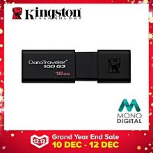 Kingston 16GB DataTraveler 100 G3 USB 3.0 Flash Drive (DT100G3/16GB) Pendrive (Black) LJMALL
