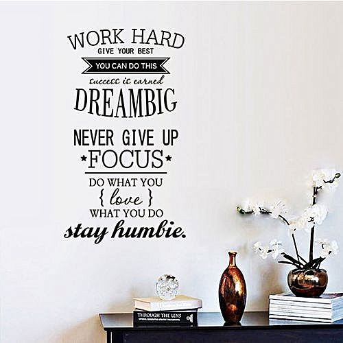 universal new wall decals quotes work hard vinyl wall sticker