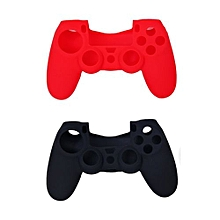 2pcs Silicone Protective Cases + 2 Pairs Plastic Joystick Caps For PS4 Controller - Red + Black