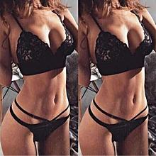 Women Lace G-string Briefs Panties Thongs Lingerie 2PCS Set Underwear L- Black L