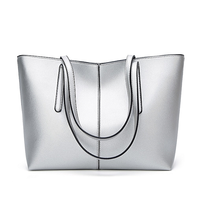 b260d96b02 Generic Women Pu Leather Large Shoulder Bag Girls Handbag - Silver ...