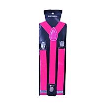 Pink Camellia Men's Adjustable Suspenders With Silver Clip