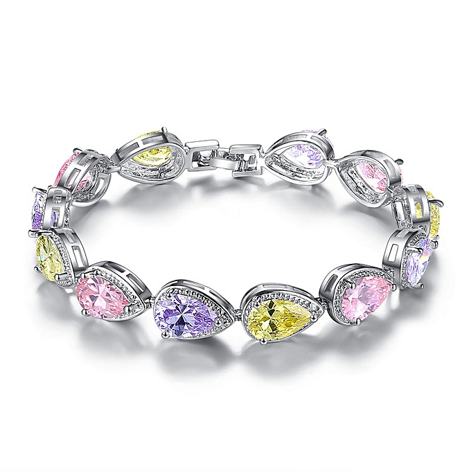 Pink Fashion Colorful Angel Teardrop Zircon Bracelet Girl Jewelry Birthday Gift