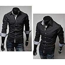 Turn-Down Collar Cotton Long Sleeve Mens Shirts-black