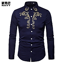 Men Shirt Fashion Long Sleeve Shirt New Palace Style Embroidery Slim Fit Male Shirts Turn-Down Collar Shirt Casual Shirt- blue