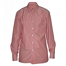 Red Striped Mens Long Sleeved Shirts