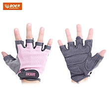 BOER Paired Body Building Fitness Weightlifting Half Finger Gloves for Women Pink
